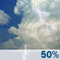 Saturday: A 50 percent chance of showers and thunderstorms.  Partly sunny, with a high near 77.