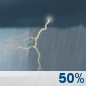 Sunday: A 50 percent chance of showers and thunderstorms.  Mostly cloudy, with a high near 68.