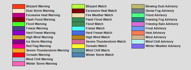 severe weather color codes